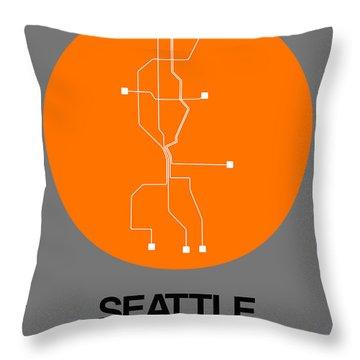 Seattle Orange Subway Map Throw Pillow