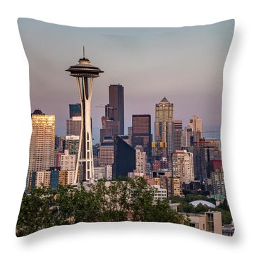 Throw Pillow featuring the photograph Seattle Skyline And Mt. Rainier Panoramic by Adam Romanowicz