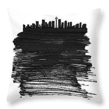 Seattle Skyline Brush Stroke Black Throw Pillow