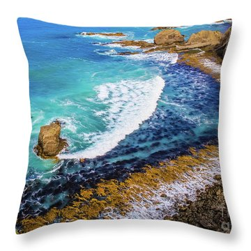 Roaring Bay At Nugget Point Throw Pillow