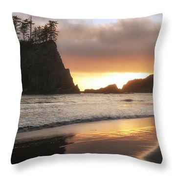Second Beach Sunset Throw Pillow