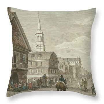 Second Street North From Market St. And Christ Church Throw Pillow