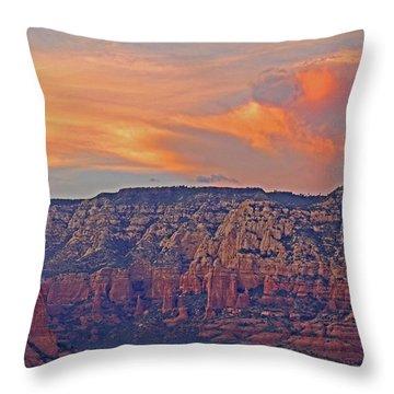 Throw Pillow featuring the mixed media Sedona Dusk 5 by Lynda Lehmann