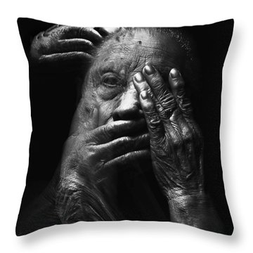 Throw Pillow featuring the digital art See No Evil Hear No Evil Speak No Evil by ISAW Company