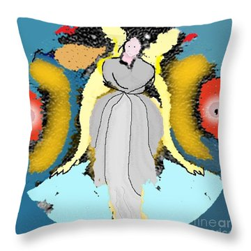 Throw Pillow featuring the digital art Seeing Angels by James Fannin