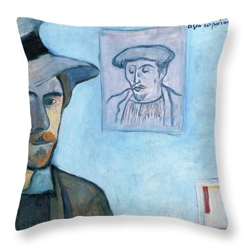 Self-portrait With Portrait Of Gauguin - Digital Remastered Edition Throw Pillow