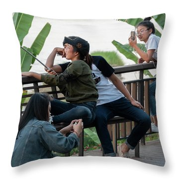 Selfie Obsessed Throw Pillow