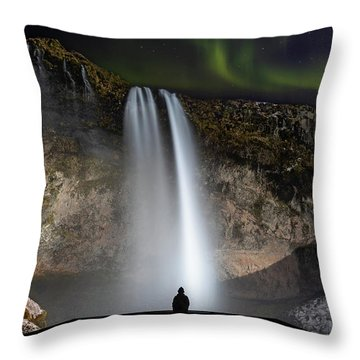 Seljalandsfoss Northern Lights Silhouette Throw Pillow
