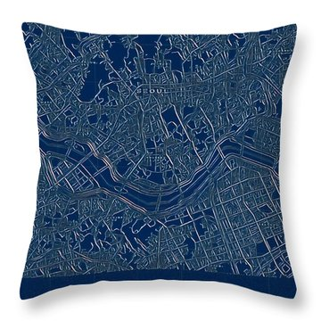 Seoul Blueprint City Map Throw Pillow