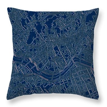 Seoul Blueprint City Map Throw Pillow
