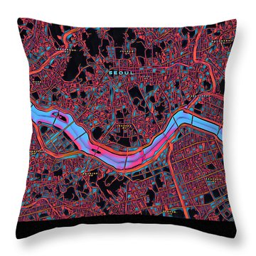 Seoul City Map Throw Pillow