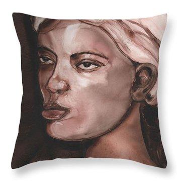 Sepia Woman Throw Pillow