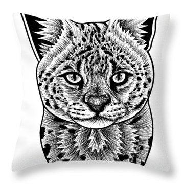 Serval Cat - In Illustration Throw Pillow