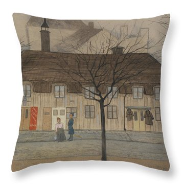 Throw Pillow featuring the drawing Servant Girl And Policeman by Ivar Arosenius