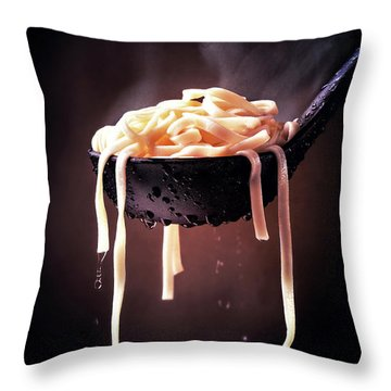 Serving Cooked Fettuccine Steaming Hot Throw Pillow