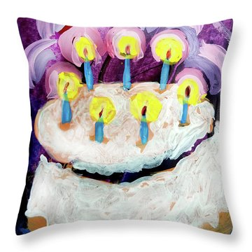 Seven Candle Birthday Cake Throw Pillow