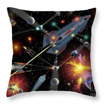 Sferogyls Space Battle Group Throw Pillow