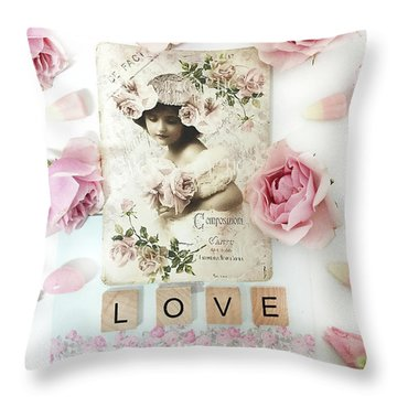Shabby Chic Love Pink Roses Victorian Floral Vintage French Girl Pink Roses Love Decor Throw Pillow