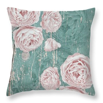 Shabby Chic Roses Distressed Throw Pillow