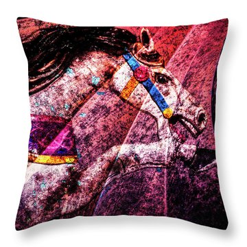Throw Pillow featuring the photograph Shades Of Antique Carousel by Michael Arend
