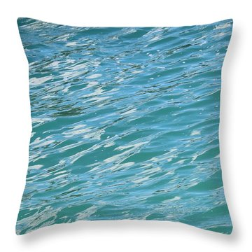 Shades Of Tropical Blue Water Throw Pillow