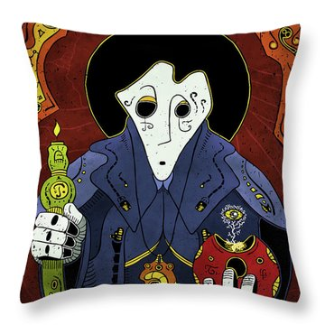 Throw Pillow featuring the painting Shadow Priest by Sotuland Art