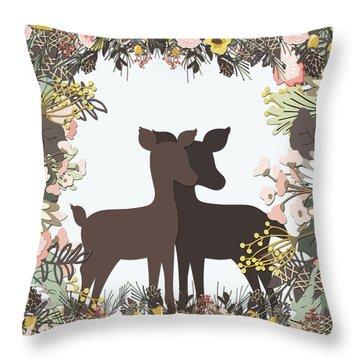 Shadowbox Deer Throw Pillow