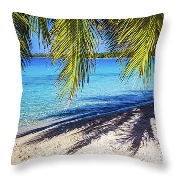 Shadows On The Beach, Takapoto, Tuamotu, French Polynesia Throw Pillow