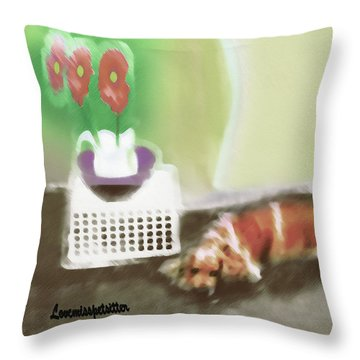Shaggy And Flowers Painting Throw Pillow