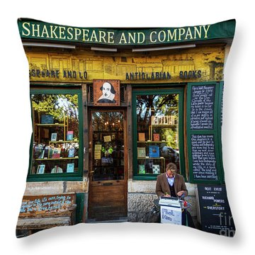 Shakespeare And Company Bookstore Throw Pillow