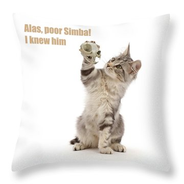 Throw Pillow featuring the photograph Shakespeare Cat - Alas Poor Yorick by Warren Photographic