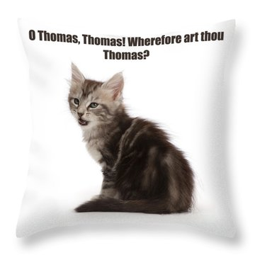 Throw Pillow featuring the photograph Shakespurr Thomas And Juliet by Warren Photographic