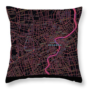 Shanghai City Map Throw Pillow