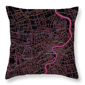 Shanghai City Map Throw Pillow