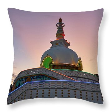Throw Pillow featuring the photograph Shanti Stupa by Whitney Goodey