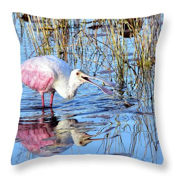 Sharing A Laugh With A Spoonbill Throw Pillow