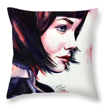 Throw Pillow featuring the painting She Knew by Michal Madison