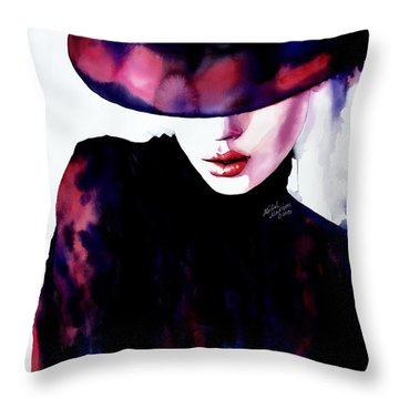 Throw Pillow featuring the painting She Remembered by Michal Madison