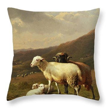 Sheep In A Landscape Throw Pillow