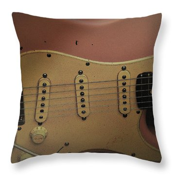 Shelly Pink Guitar Throw Pillow