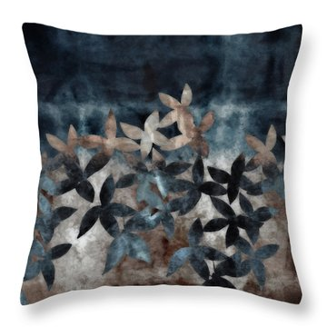 Shibori Leaves Indigo Print Throw Pillow