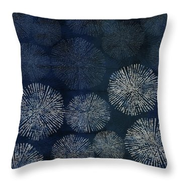 Shibori Sea Urchin Burst Pattern Dark Denim Throw Pillow