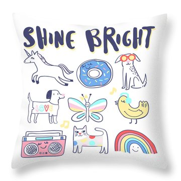Shine Bright - Baby Room Nursery Art Poster Print Throw Pillow