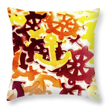 Ship Shapes And Ocean Ornaments Throw Pillow
