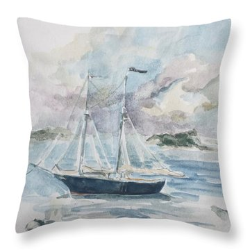 Ship Sketch Throw Pillow