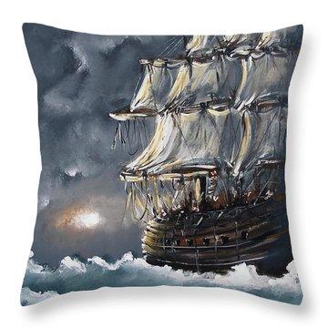 Ship Voyage Throw Pillow