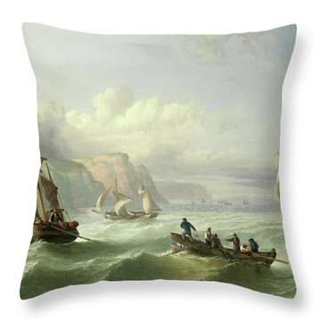 Shipping Off The Yorkshire Coast Throw Pillow