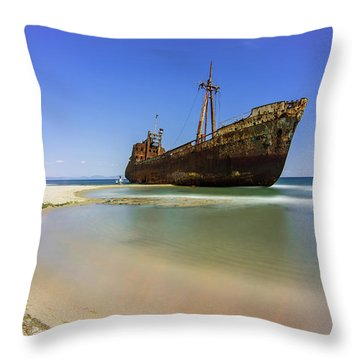 Shipwreck Dimitros Near Gythio, Greece Throw Pillow