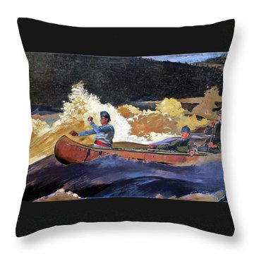 Shooting The Rapids, Saguenay River - Digital Remastered Edition Throw Pillow