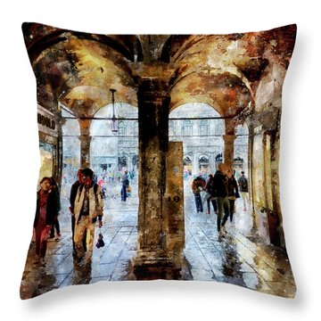 Shopping Area Of Saint Mark Square In Venice, Italy - Watercolor Effect Throw Pillow